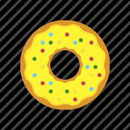 breakfast, donut, eating, egg, lemon donut, original donut icon