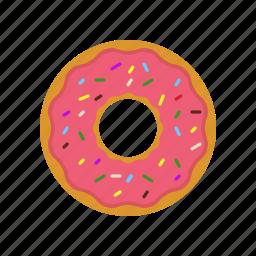 breakfast, coffee break, donut, donuts, eating, original donut, pink icon