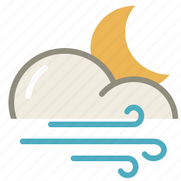 cloud, clouds, cloudy, forecast, moon, night, weather, wind icon