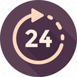 24 hour, 24/7, arrow, hours, schedule icon