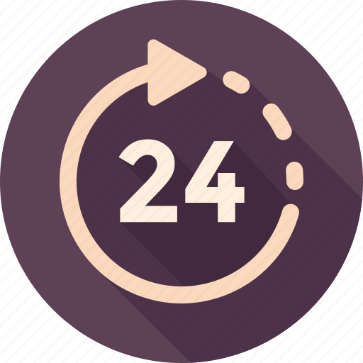24 hour, 24/7, arrow, hours, road, round-the-clock, schedule icon