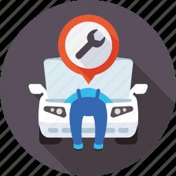 auto, diagnostics, motor, repairs, service, workshop icon