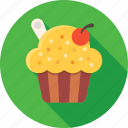 cherry, cream, cupcake, dessert, food, muffin, sweets icon