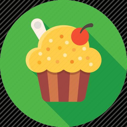 cherry, cream, cupcake, dessert, food, muffin, sweets icon