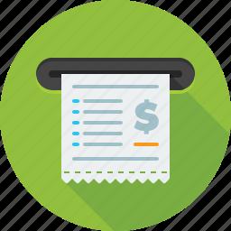 account, billing, check, cheque, invoice, receipt icon