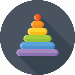 baby, colored, game, pyramid, rainbow, toy icon