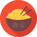 asian, bowl, chopsticks, food, rice icon