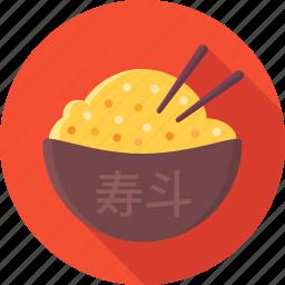 asian, bowl, chopsticks, food, rice icon
