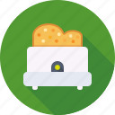 bread, breakfast, kitchen, toast, toaster icon