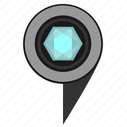 brilliant, diamond, geo, jewelry, location, pointer, stone icon