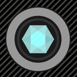 brilliant, diamond, luxury, present, round icon