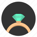 brilliant, diamond, ring, round, stone icon