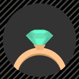 brilliant, diamond, ring, round, stone icon
