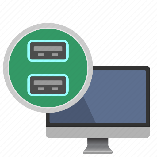 data, mac, monoblock, ports, transfer, usb icon
