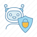 chat, chatbot, padlock, protection, safeguard, secure, shield icon