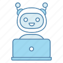 chatterbot, online, virtual assistant, chatbot, laptop, support, talkbot