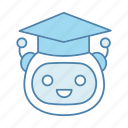 artificial intelligence, bot, chatbot, graduation cap, robot, teacher icon