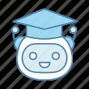 artificial intelligence, chatbot, bot, graduation cap, robot, teacher