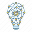 cogwheel, idea, innovation, invention, lightbulb, network, technology icon