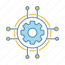 cog, cogwheel, digital, gear, network, settings, technology icon