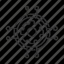 cog, cogwheel, digital, gear, network, settings, technology icon