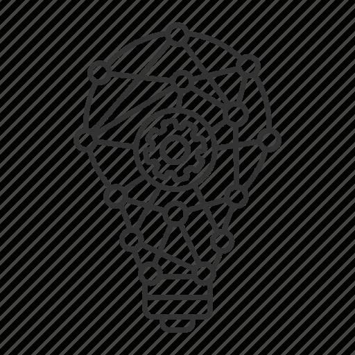 cogwheel, idea, innovation, invention, lightbulb, network, technology icon
