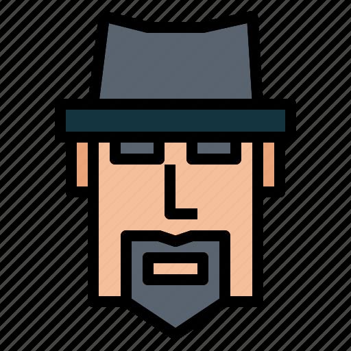 beard, mafia, man, mustache, old icon
