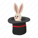 cartoon, fun, hat, illusion, magic, mystery, rabbit icon