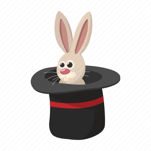 cartoon, fun, hat, illusion, magic, mystery, rabbit icon