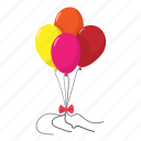balloons, bow, cartoon, orange, pink, red, yellow icon