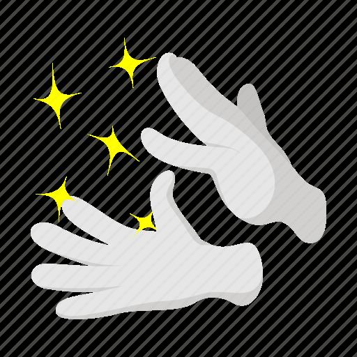 cartoon, gloves, magic, magician, show, stars, wand icon