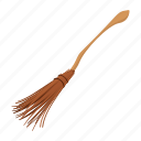 broom, cartoon, floor, halloween, magic, sweep, witch icon