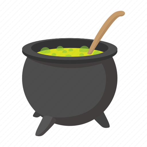 cartoon, charm, halloween, potion, vat, witch, witching icon