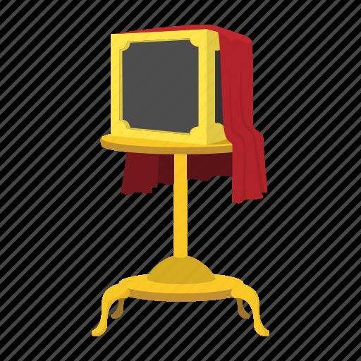box, cartoon, cloth, magic, magician, red, trick icon
