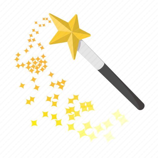 cartoon, magic, princess, stick, wand, wishes, yellow icon