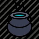 boiling, cauldron, kettle, magic, pot, witch icon