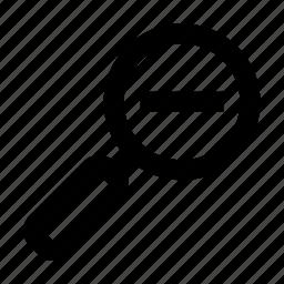 glass, magnifying, minus icon