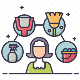 broom, bucket, cleaner, cleaning, domestic, maid, service icon