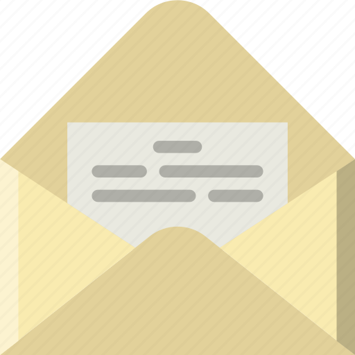 envelope, letter, mail, message, open icon