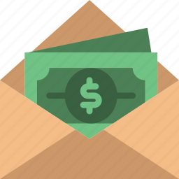envelope, letter, mail, message, money, receive icon
