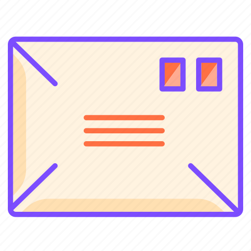 address, envelope, letter, mail, paper, post, stamp icon