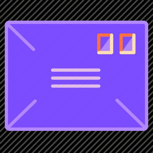 address, envelope, letter, mail, paper, post, stamp icon