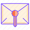 document, envelope, letter, mail, official, paper, stamp icon