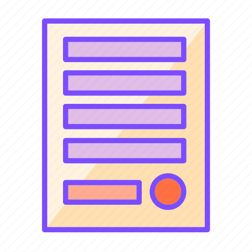 business, document, invoice, official, paper, sign, stamp icon