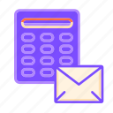 business, calculator, cost calculator, finance, mail, price icon