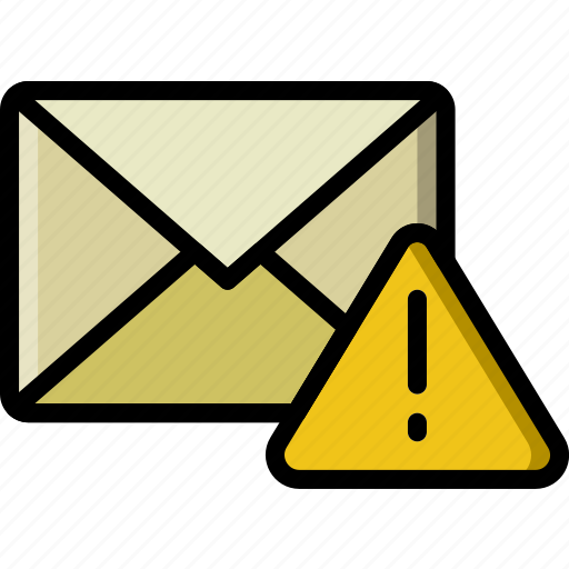 envelope, letter, mail, message, warning icon