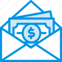 envelope, letter, mail, message, money, receive