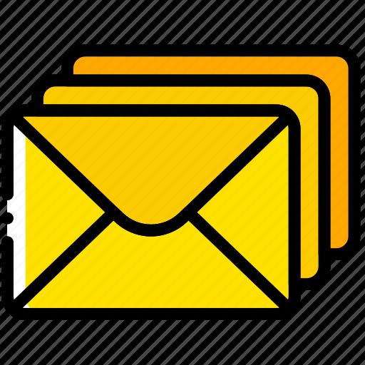 envelope, envelopes, letter, mail, message, stacked icon
