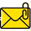 attache, envelope, letter, mail, message icon