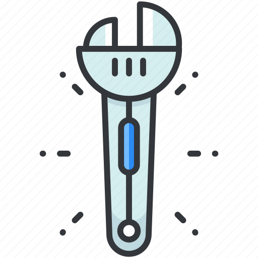 adjustable, construction, equipment, maintenance, tool, wrench icon